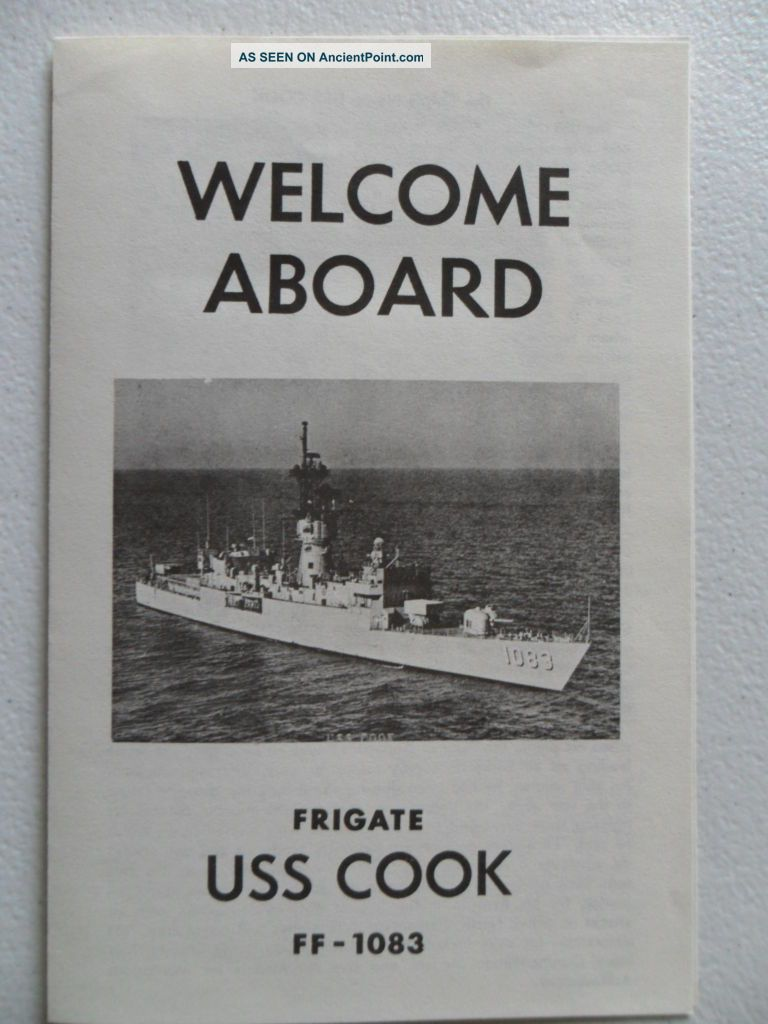 Naval/united States Navy Uss Cook (ff - 1083) Welcome Aboard 1980s Other Maritime Antiques photo
