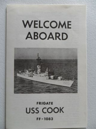 Naval/united States Navy Uss Cook (ff - 1083) Welcome Aboard 1980s photo