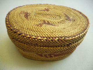 Old Nwc Oval Lidded Makah Basket photo