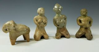 Ancient Antique Thailand /siam Asia Sawankhalok Celadon Ceramic Pottery Figures photo