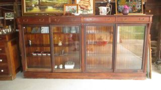 Antique Cherry Bookcase/cabinet - Circa 1880 ' S - 8 1/2 ' Long photo