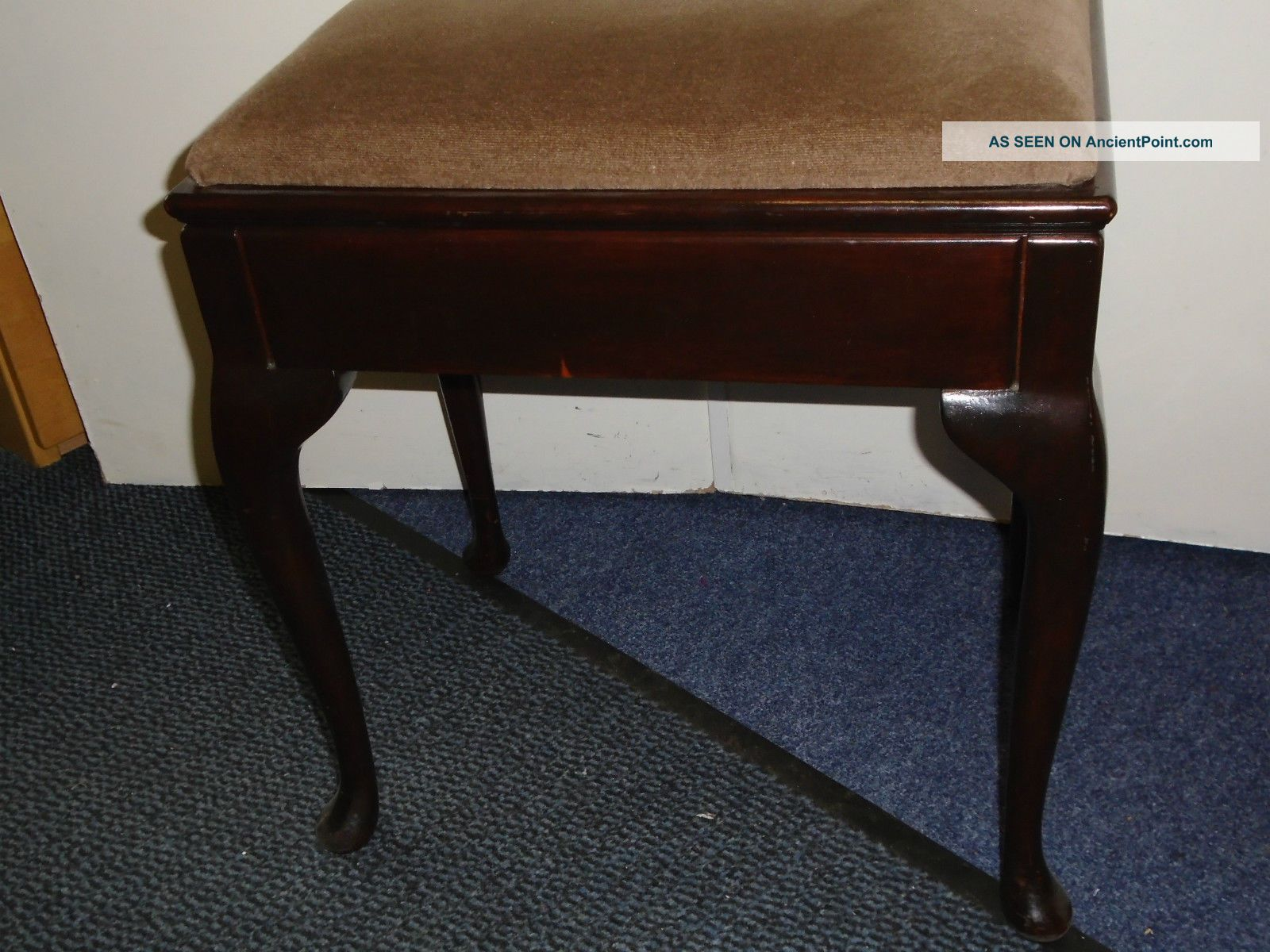 Wonderful image of Vintage Wooden Piano Music Stool / Dressing Table Stool With Cabriole  with #66462A color and 1600x1200 pixels