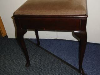 Vintage Wooden Piano Music Stool / Dressing Table Stool With Cabriole Legs photo