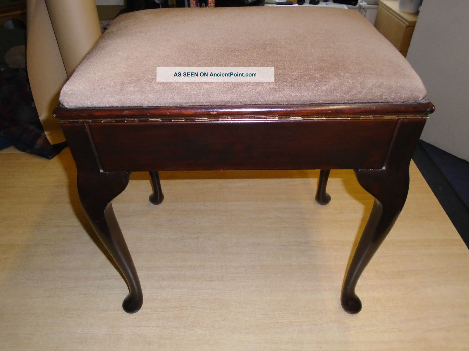Wonderful image of Vintage Wooden Piano Music Stool / Dressing Table Stool With Cabriole  with #664125 color and 1600x1200 pixels