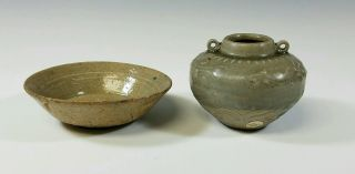 Chinese - Ancient Antique 14th Century Yuan Dynasty Celadon Ceramic Vessels Vase photo