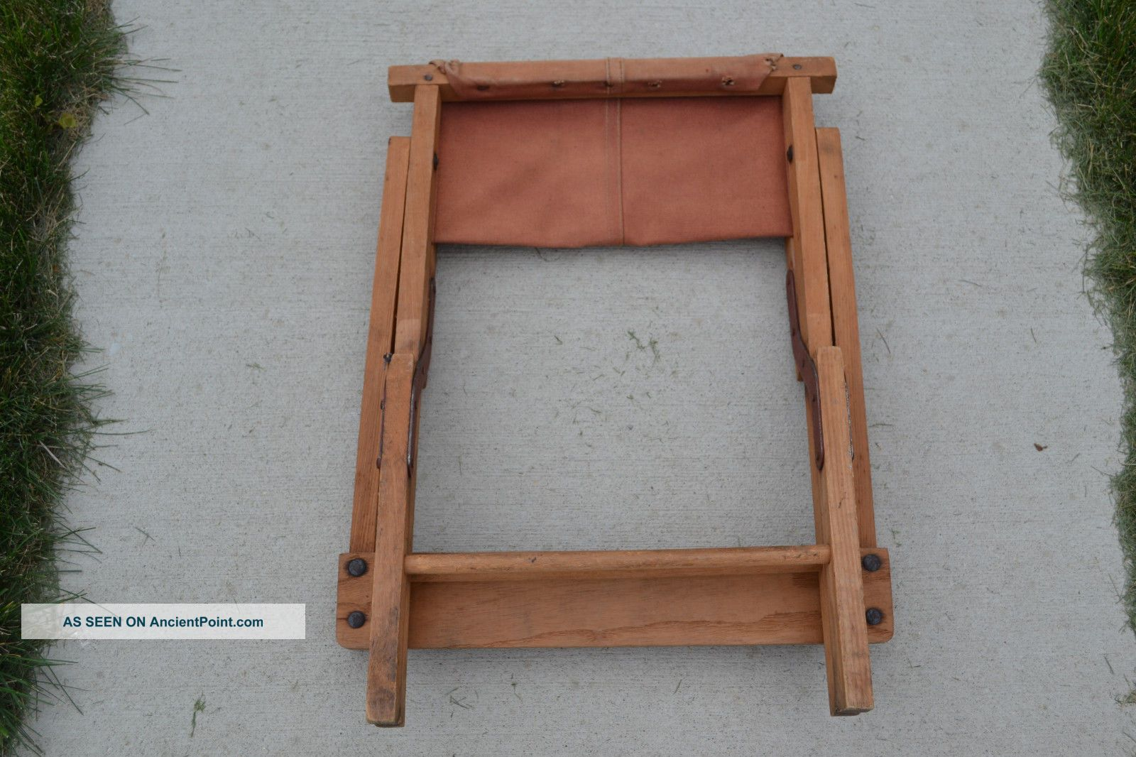 Vintage antique folding director chair wood and canvas camping post