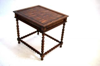 Vintage English Oak Barley Twist Table Kitchen Library Nightstand Top Inlays photo