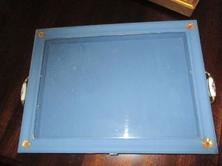Vintage 16 X 12 X 3 Hand Painted Blue Display Case With Porcelain Handles Glass photo
