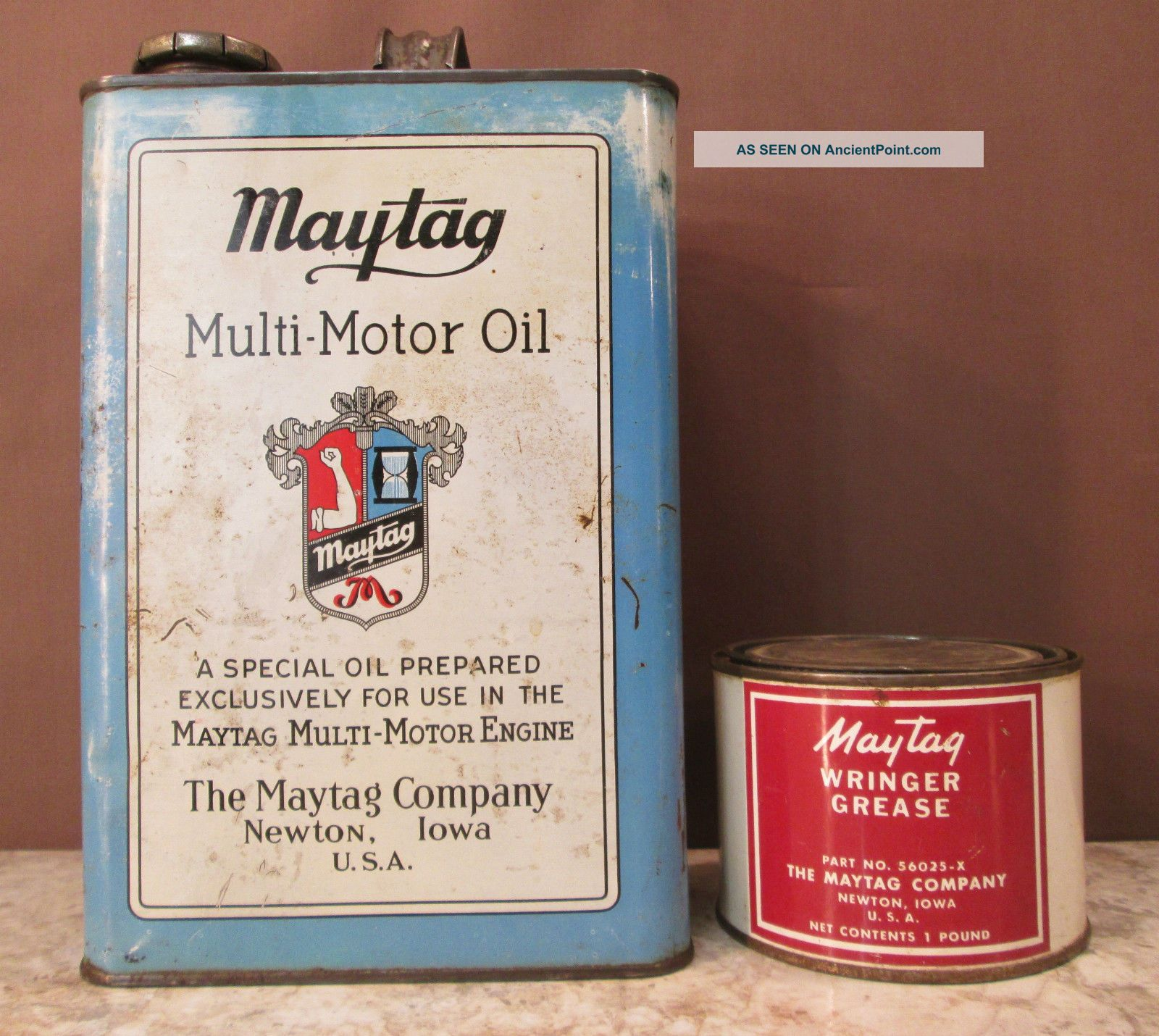 Maytag Multi - Motor 2 - Cycle Hit & Miss Engine 1 Gal Oil & Wringer Grease Tin Cans Washing Machines photo