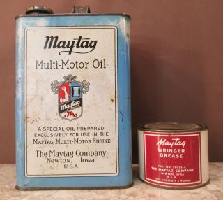 Maytag Multi - Motor 2 - Cycle Hit & Miss Engine 1 Gal Oil & Wringer Grease Tin Cans photo