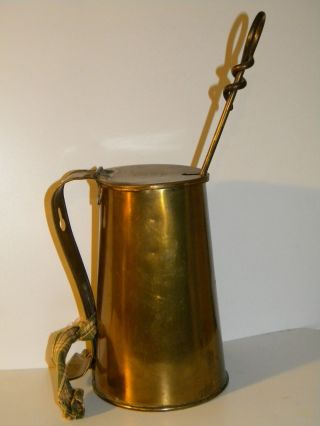 Mayflower Brass Smudge Pot Fire Starter Pitcher Pail Wall Mount Jug Stone Wand photo