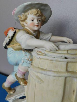 Big Antique Carl Schneider Porcelain Piano Baby Rain Barrel Boy Figurine Germany photo