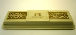 Hamilton Vintage Art Deco Box Cream Colored Brown & Blue Velvet photo