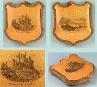 Antique Shield Mauchline Ware Pin Cushion Harlech Castle & Barmouth C1880 photo