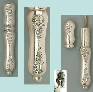 Antique Solid Silver Engraved Needle Case Dutch Hallmarks Circa 1870 photo
