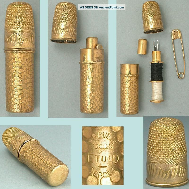 Antique Gilded French Sewing Kit W/ Thimble,  Needle Case & Bobbins Circa 1900s Other Antique Sewing photo