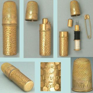 Antique Gilded French Sewing Kit W/ Thimble,  Needle Case & Bobbins Circa 1900s photo