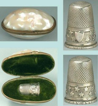 Antique French Mother Of Pearl Egg Thimble Holder & Silver Thimble Circa 1890 photo