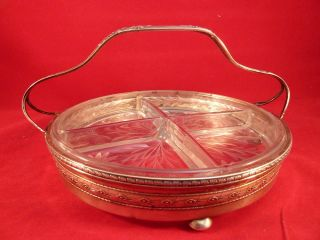 Watson Sterling Silver Relish Dish Tray Cut Glass Antique Vintage Sterling 200 G photo