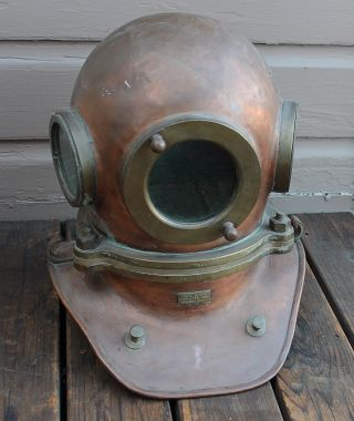 Antique Vintage Nautical Copper & Brass Russian Ussr Dive Diving Helmet photo