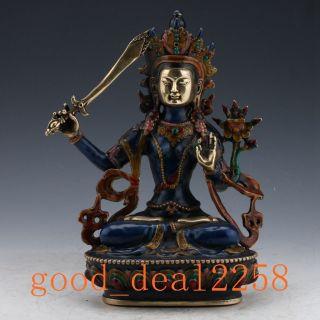 Tibet Cloisonne Tibetan Buddhist Statue - Manjusri Bodhisattva photo