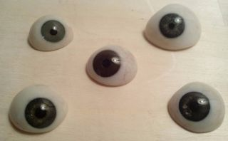 5 Antique Pre - Wwii German Medical Human Prosthetic Glass Eyes Dark - Blue Hazel photo