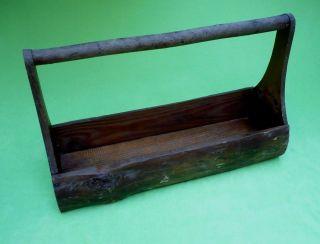 Antique Rustic Primitive Open Tool Box Carry All.  Split Log Sides & Branch Handle photo