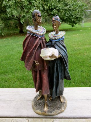 African Couple 12 In.  Ornament Statue With Infant Baby Bundle Resin Gift Kenyan photo