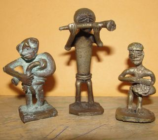 Group Of 3 African Musician Band Bronze Ashanti Baule Dogon Chokwe Statue Figure photo