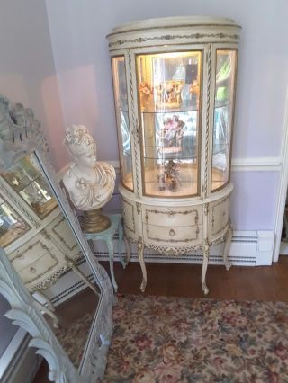 Vintage French Creamy Painted Shabby Gilded Ormolu Curved Glass Curio photo