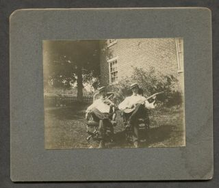C1905 Antique Photograph Of Men With Guitar & Fiddle - Photo photo