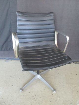 Unique Mid Century Modern Herman Miller Aluminum Group Swival Chair Chrome Frame photo