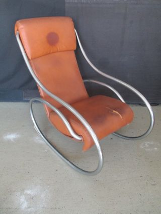 Unique Mid Century Modern Tubular Chair Milo Baughman Style Rocking Chair photo