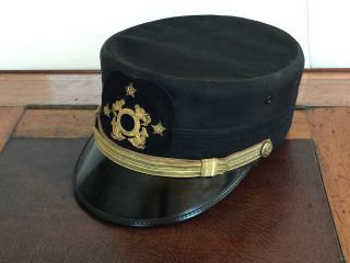 Vintage Commodor Hat With Bullion Hat Badge photo
