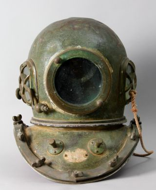 Japanese Vintage Diving Helmet Copper Brass 12 Bolt.  Circa 1920 - 40 S F24 photo