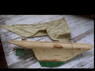 Antique Sail Boat 1930 - 1935 Tillicum Paint Decorated Wooden/cast Toy Ship photo