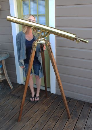 Vintage Bausch & Lomb 76mm Refracting Terrestrial Maritime Brass Telescope photo
