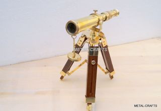 Solid Brass Telescope With Wood Stand Nautical Table Top Antique Decor Items photo
