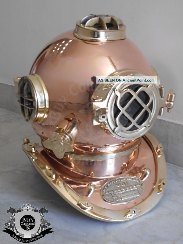 Bc - 0003 Antique U.  S Navy Mark V Diving Divers Helmet Full Copper & Brass 18 Inch Other Maritime Antiques photo