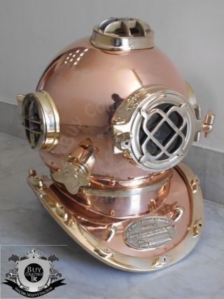 Bc - 0003 Antique U.  S Navy Mark V Diving Divers Helmet Full Copper & Brass 18 Inch photo