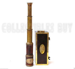 Dollond London 1920 Vintage Antique Telescope Wooden Box Nautical Maritime photo