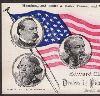 1880 ' S Election Cleveland Harrison Blaine Hazelton Stultz Bauer Piano Organ Card photo