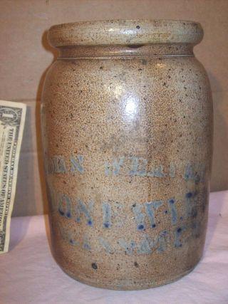 1880 ' S John Weaver Stoneware Cincinnati,  O.  Rare Antique Salt Glaze Crock W/lid photo