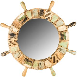 Nautical Mirror - Ship Wheel Wood Mirror Home Decor - Rustic Beach Cottage photo