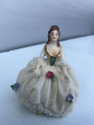 Vintage Made In Germany Porcelain Lady Figurine With Dresden Lace Dress, photo