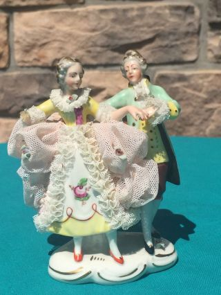 R.  Pech Vintage German Couple Figurine - Dresden Style Lace - Damage photo