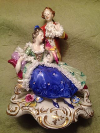 Vintage Dresden Porcelain Couple With Parrot Germany photo