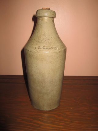 "Antique Vintage Dr.  Cronk Glazed Stoneware Beer Bottle – 10"" Tall Rare photo"