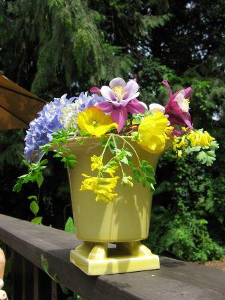 1930 ' S Claw Foot Jardiniere ' The Trenton Potteries Co ' Vase Pot Pale Yellow Deco photo