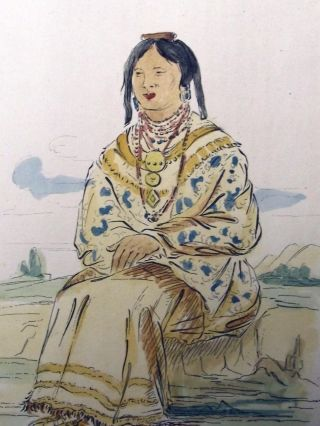 1842 G.  Catlin Handcol Engr Native American - Indian Billy Creek Micanopy Chief photo